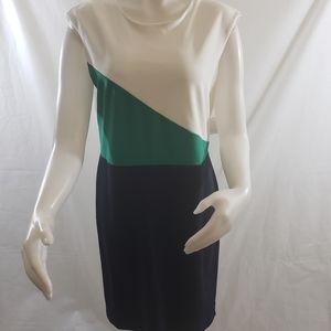 Neiman Marcus  colorblock sleeveless sheath dresd